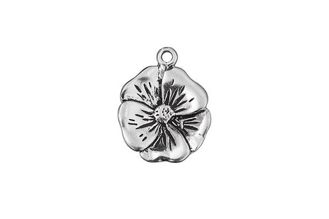 Sterling Silver Camrose Alta Rose Charm, 15.0x15.0mm
