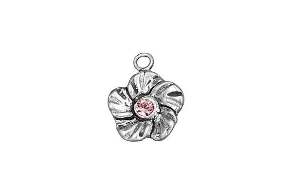 Sterling Silver Buttercup Flower Charm, 14.0x14.0mm