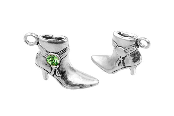 Sterling Silver Cowgirl Boot Charm, 14.0x17.0mm