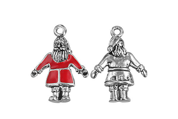 Sterling Silver Santa Claus Charm, 20.0x16.0mm