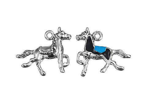 Sterling Silver Carousel Horse Charm, 16.0x21.0mm