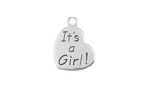 Sterling Silver It's a Girl Charm, 20.0x15.0mm