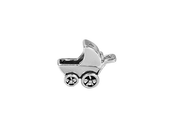 Sterling Silver Baby Buggy Charm, 12.0x16.0mm