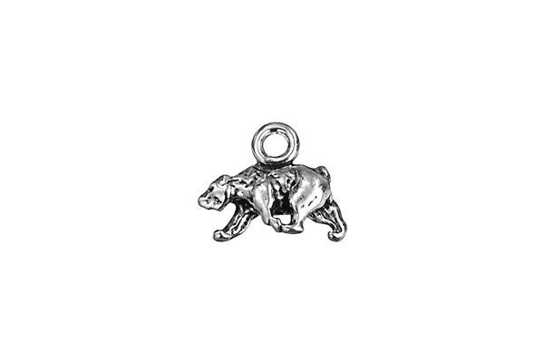 Sterling Silver Polar Bear Charm, 10.0x9.0mm