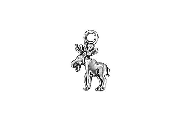 Sterling Silver Moose Charm, 13.0x8.0mm