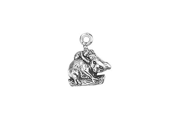 Sterling Silver Koala with Cub Charm, 11.0x9.0mm