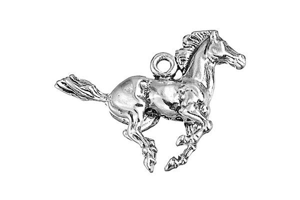 Sterling Silver Galloping Mustang Charm, 19.0x30.0mm