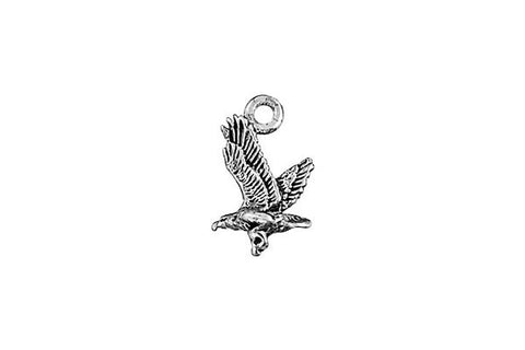 Sterling Silver Eagle in Flight Charm, 10.0x8.0mm