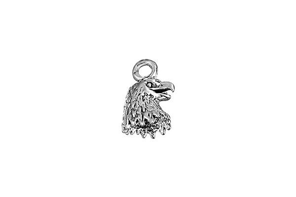 Sterling Silver Eagle Head Charm, 10.0x7.0mm