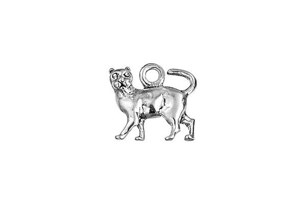 Sterling Silver Cat Charm, 9.0x9.0mm