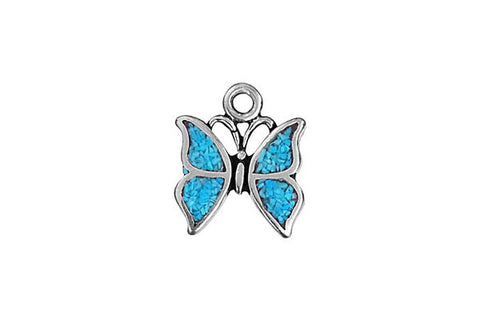 Sterling Silver Butterfly with Inlay Charm, 9.0x9.0mm