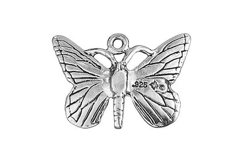 Sterling Silver Butterfly Charm, 15.0x22.0mm