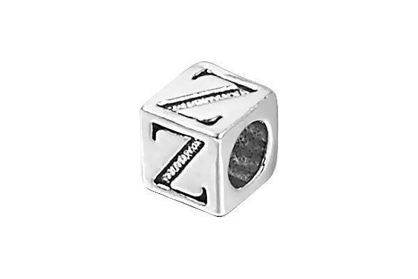 Sterling Silver New Alphabet Letter Z Cube, 6mm