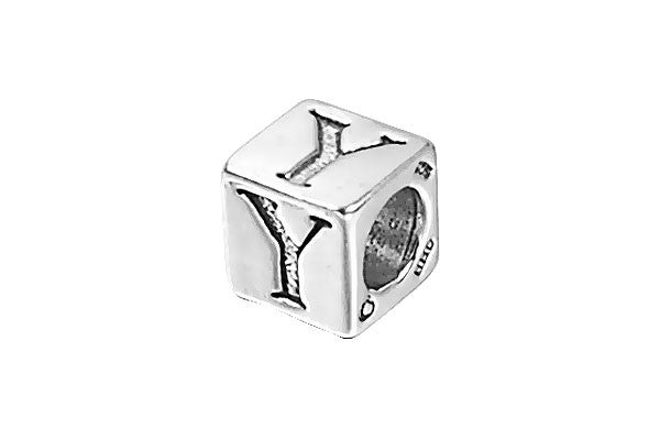Sterling Silver New Alphabet Letter Y Cube, 6mm