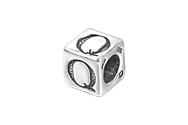 Sterling Silver New Alphabet Letter Q Cube, 6mm
