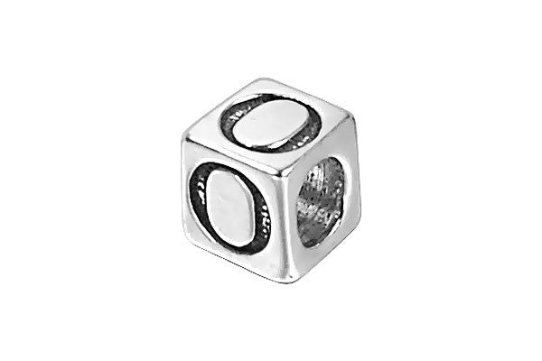 Sterling Silver New Alphabet Letter O Cube, 6mm
