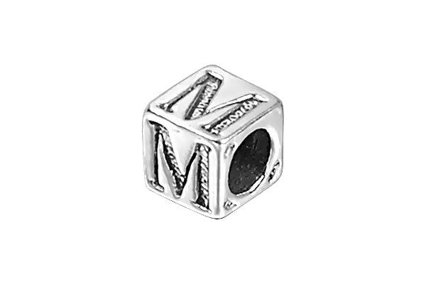 Sterling Silver New Alphabet Letter M Cube, 6mm