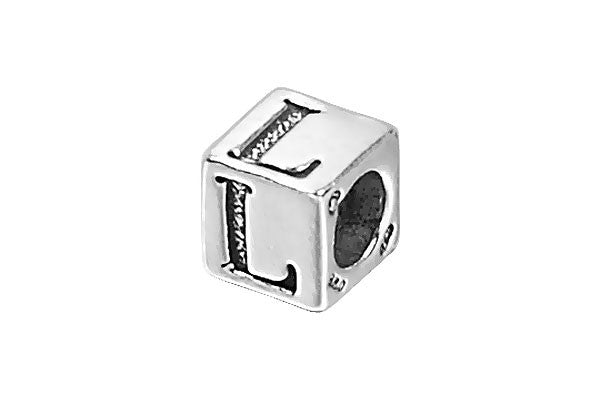 Sterling Silver New Alphabet Letter L Cube, 6mm