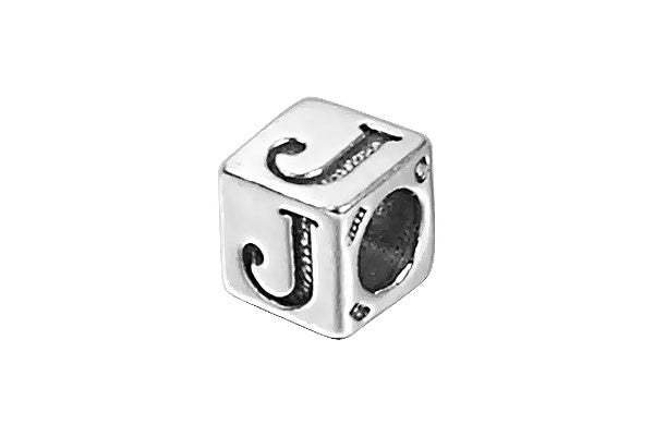 Sterling Silver New Alphabet Letter J Cube, 6mm