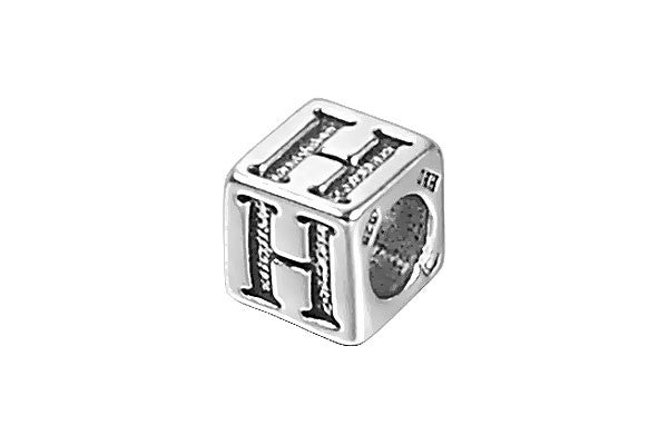 Sterling Silver New Alphabet Letter H Cube, 6mm