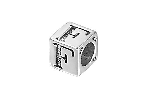 Sterling Silver New Alphabet Letter F Cube, 6mm