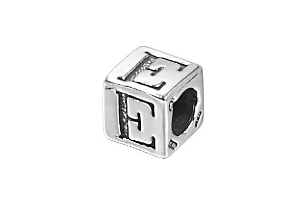 Sterling Silver New Alphabet Letter E Cube, 6mm