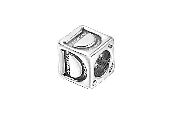 Sterling Silver New Alphabet Letter D Cube, 6mm