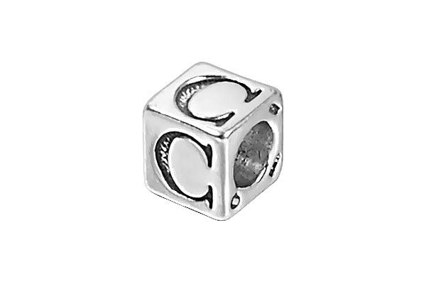 Sterling Silver New Alphabet Letter C Cube, 6mm