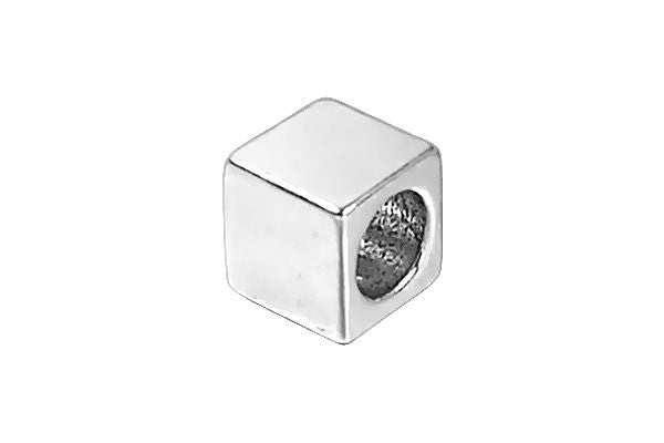 Sterling Silver New Alphabet BLANK Cube, 6mm