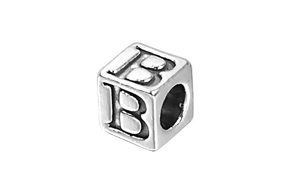 Sterling Silver New Alphabet Letter B Cube, 6mm