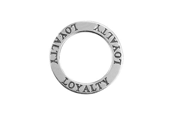 Sterling Silver Loyalty Affirmation Band Charm, 22.0mm