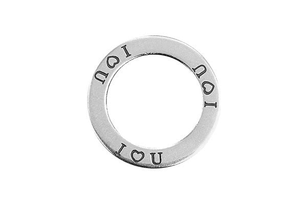 "Sterling Silver I ""heart"" U Affirmation Band Charm, 22.0mm"