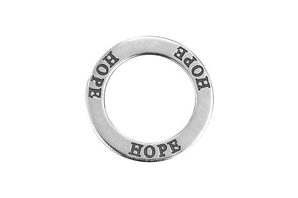 Sterling Silver Hope Affirmation Band Charm, 22.0mm