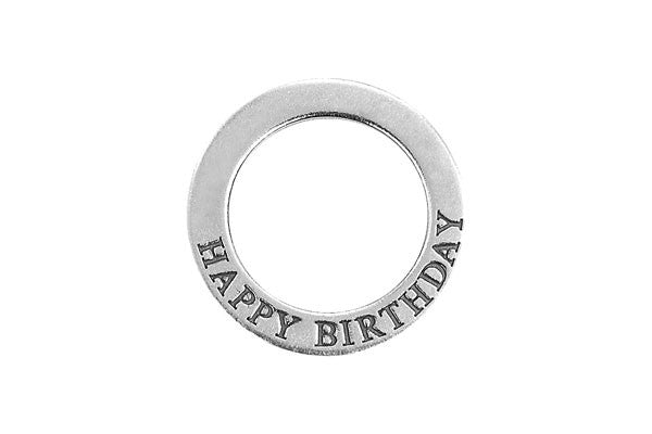 Sterling Silver Happy Birthday Affirmation Band Charm, 22.0mm