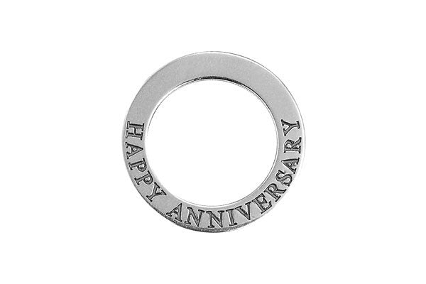 Sterling Silver Happy Anniversary Affirmation Band Charm, 22.0mm