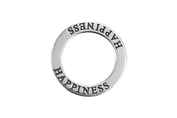 Sterling Silver Happiness Affirmation Band Charm, 22.0mm