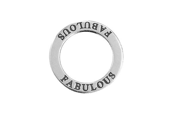 Sterling Silver Fabulous Affirmation Band Charm, 22.0mm