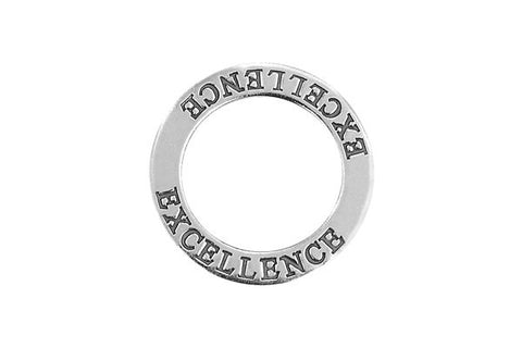 Sterling Silver Excellence Affirmation Band Charm, 22.0mm