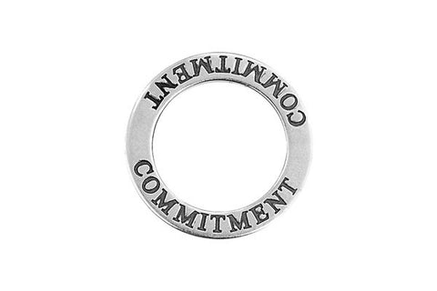 Sterling Silver Commitment Affirmation Band Charm, 22.0mm