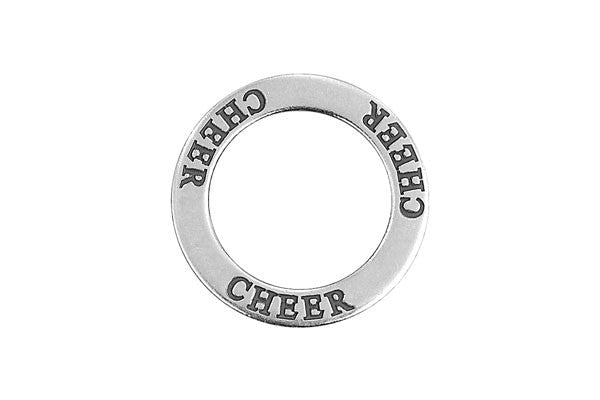 Sterling Silver Cheer Affirmation Band Charm, 22.0mm