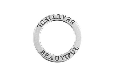Sterling Silver Beautiful Affirmation Band Charm, 22.0mm