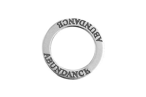 Sterling Silver Abundance Affirmation Band Charm, 22.0mm