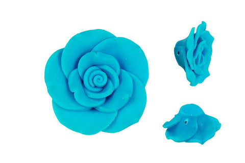 Pendant Poly Clay Flower (Blue 405)