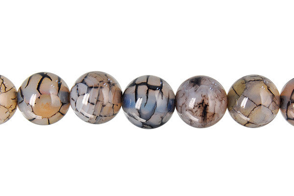 Fire Agate (Black) Round Beads
