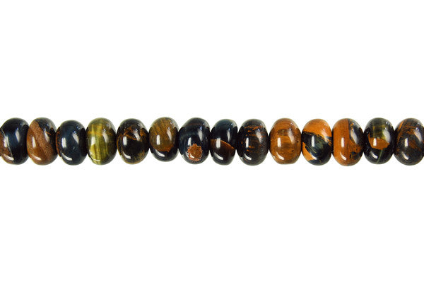 Tiger Eye (Yellow and Blue) Rondelle Beads
