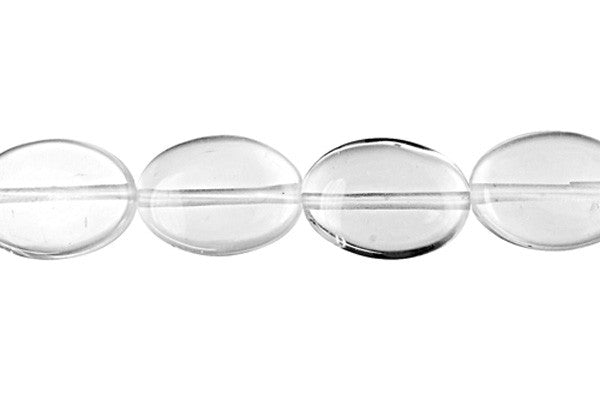 Rock Crystal Flat Oval Beads