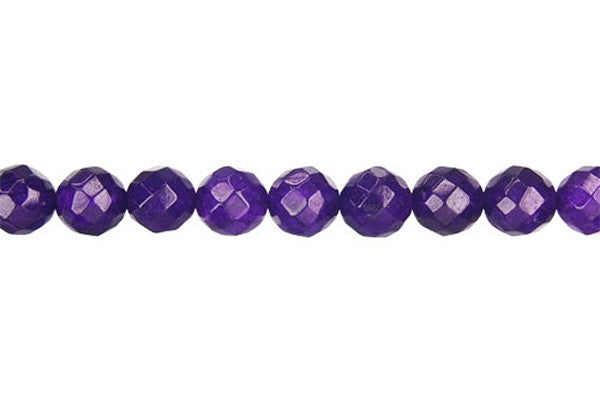 Marble (Dyed) Faceted Round (Amethyst) Beads