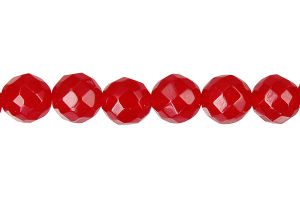 Marble (Dyed) Faceted Round (Ruby) Beads