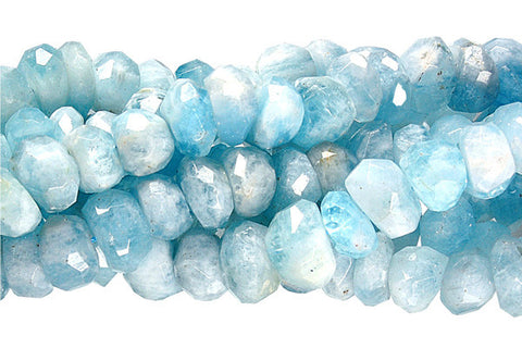 Aquamarine Irregular Faceted Rondelle Beads