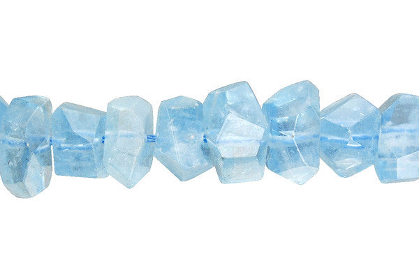 Aquamarine Faceted Nugget (AA) Beads